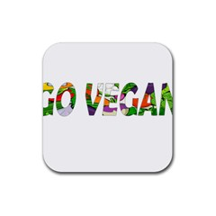 Go Vegan Rubber Square Coaster (4 Pack)  by Valentinaart