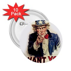Uncle Sam 2 25  Buttons (10 Pack)  by Valentinaart