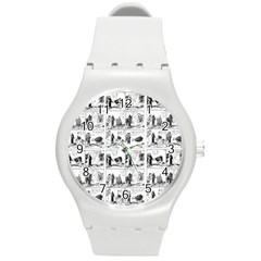 Old Comic Strip Round Plastic Sport Watch (m) by Valentinaart