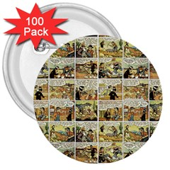Old Comic Strip 3  Buttons (100 Pack)  by Valentinaart