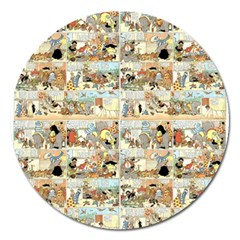 Old Comic Strip Magnet 5  (round) by Valentinaart