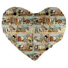 Old Comic Strip Large 19  Premium Heart Shape Cushions by Valentinaart