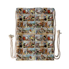 Old Comic Strip Drawstring Bag (small) by Valentinaart