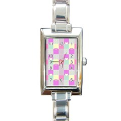 Old Quilt Rectangle Italian Charm Watch by Valentinaart