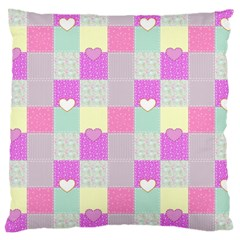 Old Quilt Large Cushion Case (one Side) by Valentinaart