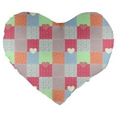 Patchwork Large 19  Premium Heart Shape Cushions by Valentinaart