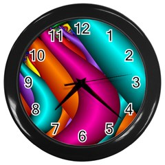 Fractal Wallpaper Color Pipes Wall Clocks (black) by Amaryn4rt
