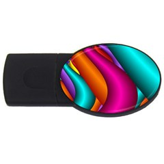 Fractal Wallpaper Color Pipes Usb Flash Drive Oval (4 Gb) by Amaryn4rt