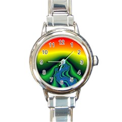 Fractal Wallpaper Water And Fire Round Italian Charm Watch by Amaryn4rt