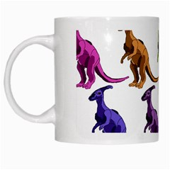 Multicolor Dinosaur Background White Mugs by Amaryn4rt