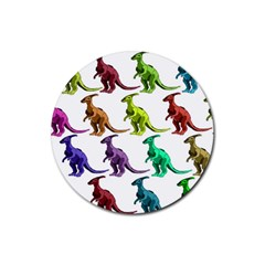 Multicolor Dinosaur Background Rubber Round Coaster (4 Pack)  by Amaryn4rt