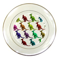 Multicolor Dinosaur Background Porcelain Plates by Amaryn4rt