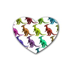 Multicolor Dinosaur Background Rubber Coaster (heart)  by Amaryn4rt