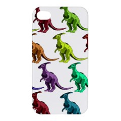Multicolor Dinosaur Background Apple Iphone 4/4s Premium Hardshell Case by Amaryn4rt
