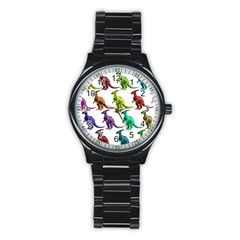 Multicolor Dinosaur Background Stainless Steel Round Watch by Amaryn4rt
