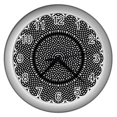 Black Lace Kaleidoscope On White Wall Clocks (silver)  by Amaryn4rt