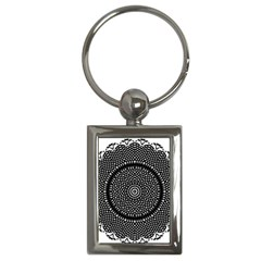 Black Lace Kaleidoscope On White Key Chains (rectangle)  by Amaryn4rt