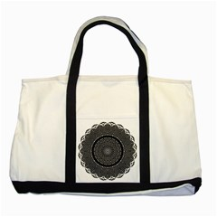 Black Lace Kaleidoscope On White Two Tone Tote Bag by Amaryn4rt