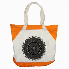 Black Lace Kaleidoscope On White Accent Tote Bag
