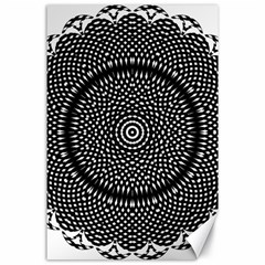Black Lace Kaleidoscope On White Canvas 24  X 36  by Amaryn4rt