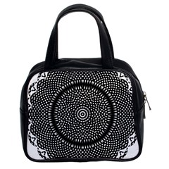 Black Lace Kaleidoscope On White Classic Handbags (2 Sides) by Amaryn4rt