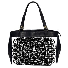 Black Lace Kaleidoscope On White Office Handbags (2 Sides)  by Amaryn4rt