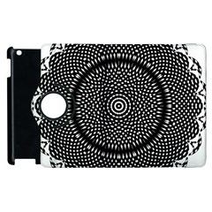 Black Lace Kaleidoscope On White Apple Ipad 3/4 Flip 360 Case by Amaryn4rt