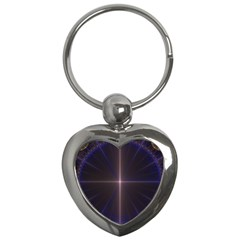 Color Fractal Symmetric Blue Circle Key Chains (heart)  by Amaryn4rt