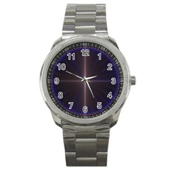 Color Fractal Symmetric Blue Circle Sport Metal Watch by Amaryn4rt