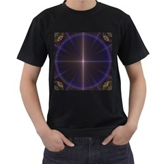 Color Fractal Symmetric Blue Circle Men s T Shirt (black) by Amaryn4rt