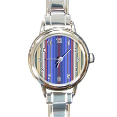 Colorful Stripes Background Round Italian Charm Watch by Amaryn4rt