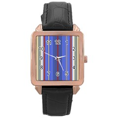 Colorful Stripes Background Rose Gold Leather Watch  by Amaryn4rt