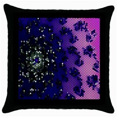 Blue Digital Fractal Throw Pillow Case (black)