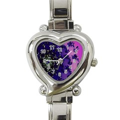 Blue Digital Fractal Heart Italian Charm Watch by Amaryn4rt