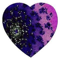 Blue Digital Fractal Jigsaw Puzzle (heart) by Amaryn4rt