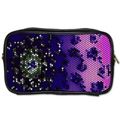 Blue Digital Fractal Toiletries Bags 2 Side