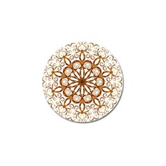 Golden Filigree Flake On White Golf Ball Marker by Amaryn4rt