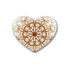 Golden Filigree Flake On White Heart Coaster (4 Pack)  by Amaryn4rt
