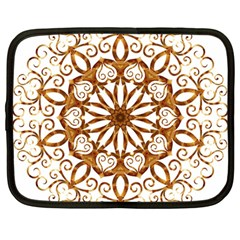 Golden Filigree Flake On White Netbook Case (large) by Amaryn4rt