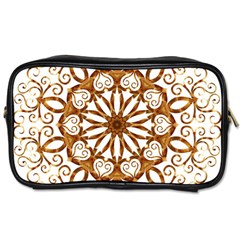 Golden Filigree Flake On White Toiletries Bags by Amaryn4rt