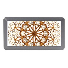 Golden Filigree Flake On White Memory Card Reader (mini) by Amaryn4rt