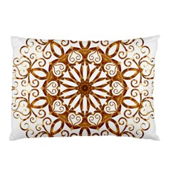 Golden Filigree Flake On White Pillow Case (two Sides) by Amaryn4rt