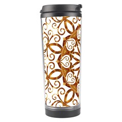 Golden Filigree Flake On White Travel Tumbler by Amaryn4rt