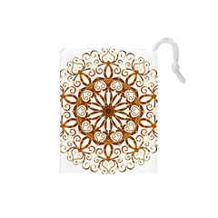 Golden Filigree Flake On White Drawstring Pouches (small)  by Amaryn4rt