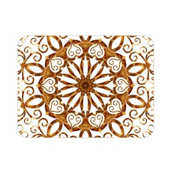Golden Filigree Flake On White Double Sided Flano Blanket (mini)  by Amaryn4rt