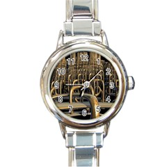 Fractal Image Of Copper Pipes Round Italian Charm Watch by Amaryn4rt