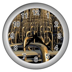 Fractal Image Of Copper Pipes Wall Clocks (silver)  by Amaryn4rt