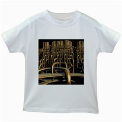Fractal Image Of Copper Pipes Kids White T Shirts by Amaryn4rt