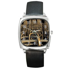 Fractal Image Of Copper Pipes Square Metal Watch by Amaryn4rt