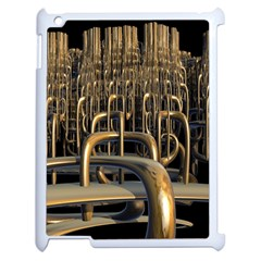 Fractal Image Of Copper Pipes Apple Ipad 2 Case (white) by Amaryn4rt